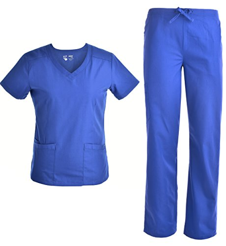 (V Neck Nursing Women Scrubs Set - Pandamed Doctor Uniform Slim Scrub Top and Pants JY1607 (Royal, L))
