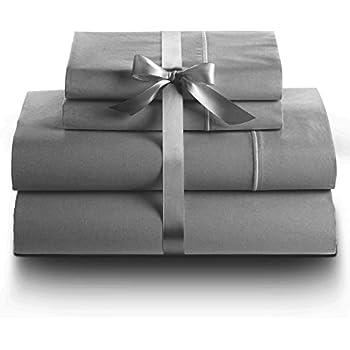 LINENWALAS 100% Cotton Bed Sheet (King 4pc Sheet Set, 800TC_Grey)