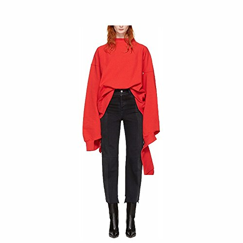 Neutral dress coat sleeve female giant lazy couples dress sweater coat,L,Red irregular by Xuanku