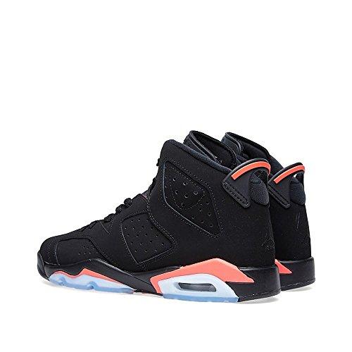 Nike Boys Air Jordan 6 Retro Bg Scarpe Da Basket In Pelle Scamosciata Ad Infrarossi Nero / Rosso / Infrarosso
