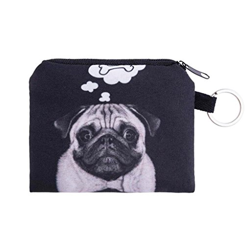 Coin Wallet,Neartime Coins Change Purse Zipper Wallet Small Key Bags Dog Cat Print (Black)