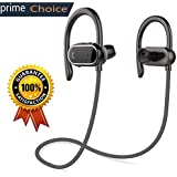 Z ZHOUHAI Bluetooth Headphones Sport Wireless Sweat-Proof Earphones Bass Stereo with Built-in Mic Ear-Buds for Gym Running Cycling Hiking 8 Hours(Black)
