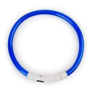 ROSENICE Led Dog Collar Light Flashing Dog Necklace for Small Medium Large Dogs Night Walking Safety 35CM (Blue) Click on image for further info.