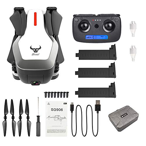 TLT Retail SG906 Drone GPS 5G WiFi FPV With 4K Ultra Clear Camera Brushless Selfie Foldable GPS/Optical Flow Positioning Hover RC Quadcopter + Carrying Bag(3 Batetry) (White)