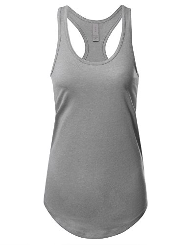 Women's Basic Solid Jersey Racer Back Tank Top with Scallop Bottom S Heather Grey