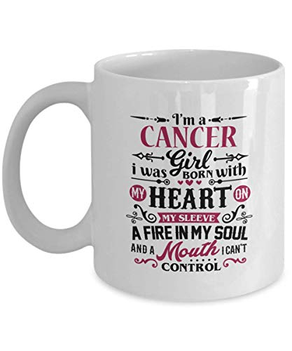 Cancer Zodiac Sign Horoscope (Funny Gift for Cancer Girl - I Was Born With My Heart On My Sleeve Zodiac Sign, Horoscope, Astrology, Birthday Cancer Girl Coffee Mug Cup 11 Oz Novelty Gifts)