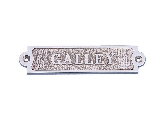 "Hampton Nautical  Chrome Galley Sign, 6"", Chrome"