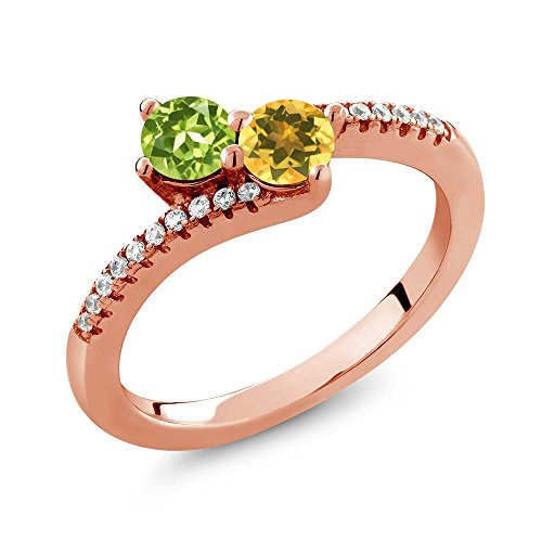 Gem Stone King 0.80 Ct Green Peridot Yellow Citrine 2 Stone 18K Rose Gold Plated Silver Bypass Ring (Size 9)