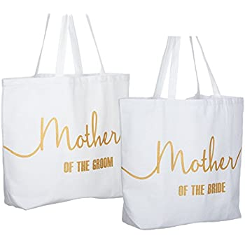 3917d0ae4a477 ElegantPark Mother of the Bride +Groom Jumbo Tote Bag for Wedding Gifts  Canvas 100% Cotton Interior Pocket White with Gold Glitter 2 Pcs
