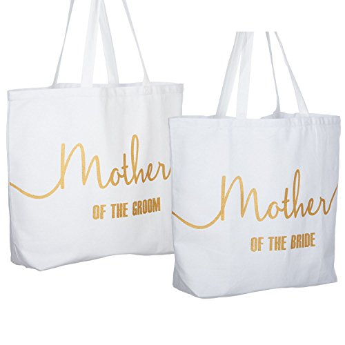 ElegantPark Mother of the Bride +Groom Jumbo Tote Bag for Wedding Gifts Canvas 100% Cotton Interior Pocket White with Gold Glitter 2 Pcs