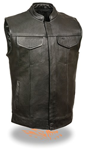Basic Leather Motorcycle Vest - SOA Men's Basic Cowhide Leather Motorcycle Vest w/2 Inside Gun Pockets Open Collared Club Vest (X-Large)