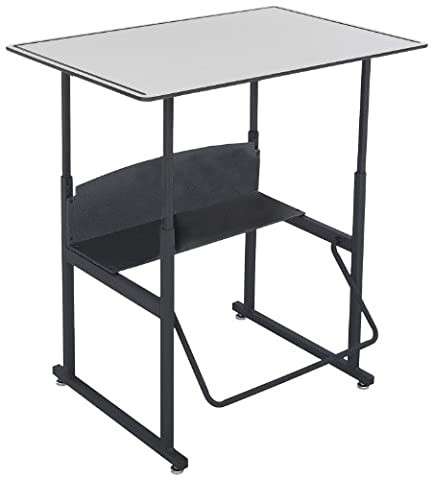 Safco Products 1208GR Alphabetter Stand-Up Desk with Swinging Footrest Bar, 36