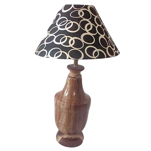 - Brown Natural Onyx Marble Art Electrical Table Lamp 18 Inch | Home Décor | Handmade by Awarded Indian Rural Artisan