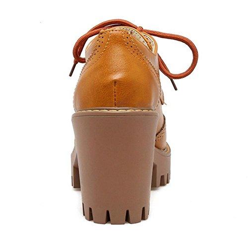 Oxford Zapatos Brown RAZAMAZA de Tacon para Ancho Mujer Yellow aw5R1Hq5
