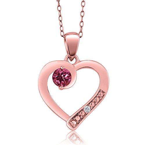 - Gem Stone King Round Pink Tourmaline White Topaz 18K Rose Gold Plated Silver Pendant (0.26 cttw)