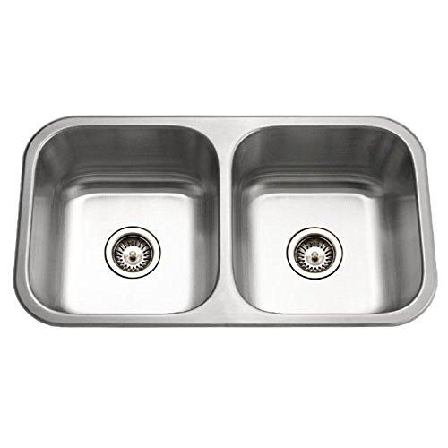 Houzer MD-3109-1 Medallion Classic Series Undermount Stainless Steel 50/50 Double Bowl Kitchen - Bowl One Undermount