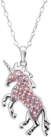 7eec3d143 Crystaluxe Magical Unicorn Pendant Necklace with Swarovski Crystals in  Sterling Silver