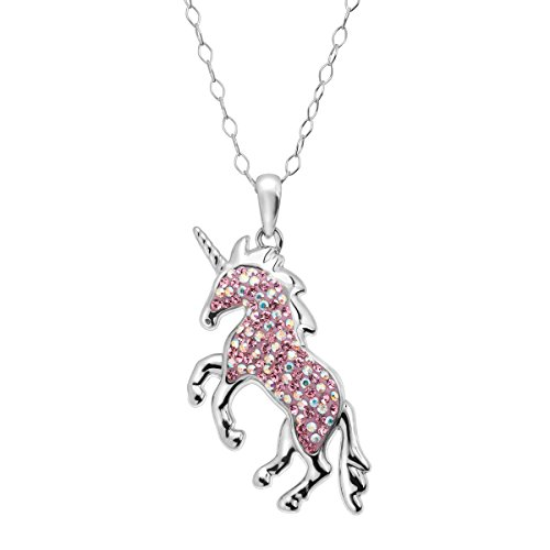 - Crystaluxe Magical Unicorn Pendant Necklace with Swarovski Crystals in Sterling Silver