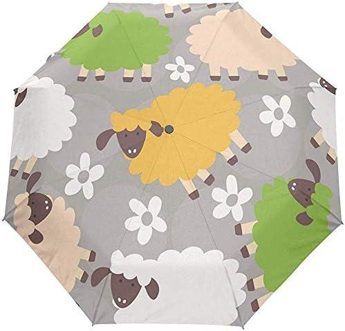 EW-OL Regenschirm mit automatischem Öffnen und Schließen Niedlicher Schaf-tragbarer Faltbarer Sonnenregen-Regenschirm
