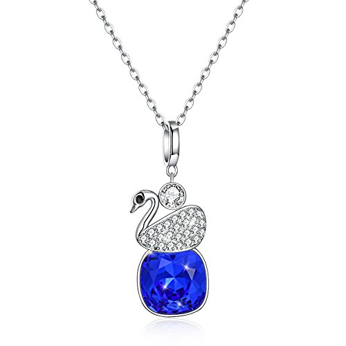 Weinuo Blue Sapphire 925 sterling silver swan pendant in multicolored Austrian crystal necklace - Multi Colored Sapphire Pendant