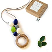 'Oak Ring' Designer Teething Necklace, Gift Box & Greeting Card; Genuine Oak Ring and Silicone Beads Jewelry
