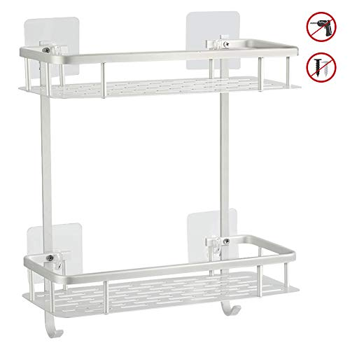 Hawsam No Drilling Bathroom Shelves, Aluminum 2 Tier Shower Shelf Caddy Adhesive Storage Basket for ()