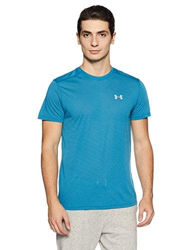 Under Armour Men's Threadborne Streaker Short Sleeve Shirt,Bayou Blue /Reflective, Medium