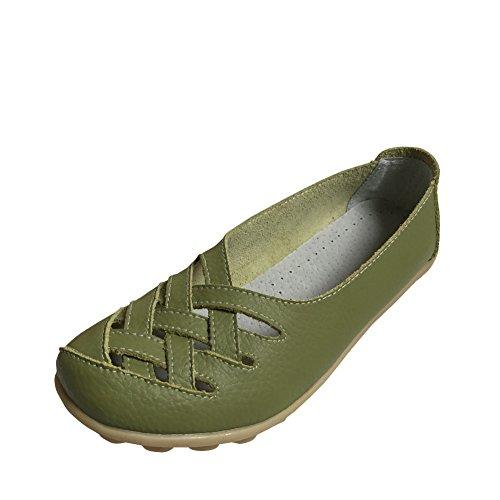 Verde In Confortevole Pantofole Donna 3 Scarpe Elegante Pelle Da Mocassini Rotonda Basso Per Estate Barca Loafers Piatto Testa Primavera Casuali Col Tacco 7xwgRPqw