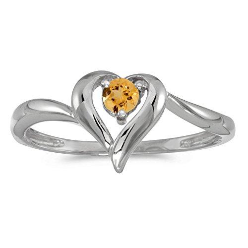 - FB Jewels 10k White Gold Genuine Birthstone Solitaire Round Citrine Heart Wedding Engagement Statement Ring - Size 6.5 (0.18 Cttw.)