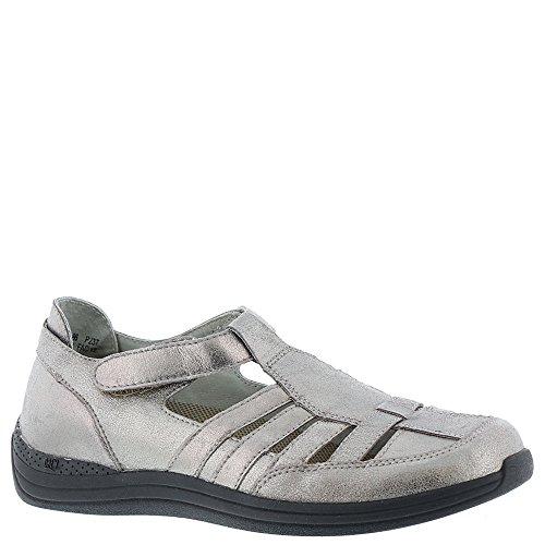 (Drew Shoe Women's Ginger Casual Sandals, Silver Leather, 9.5 WW)