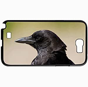 Personalized Protective Hardshell Back Hardcover For Samsung Note 2, Bird Raven View Profile Design In Black Case Color