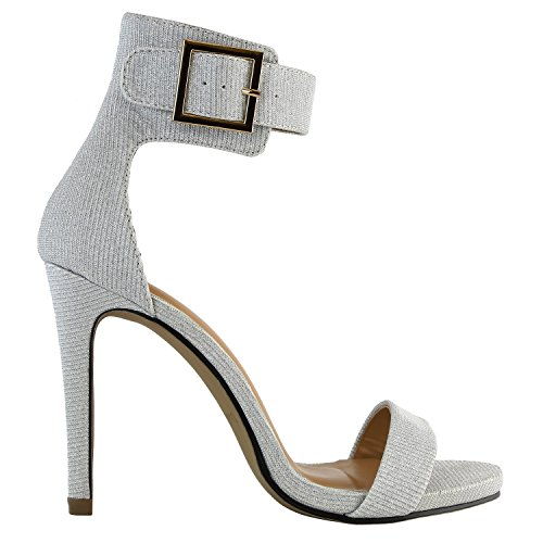 Buckle Ankle Casual Evening Gl Heel Shoes DailyShoes High Women's Strap Party Dress Silver Platform Stiletto Sandal Heels Open Toe AwA4YXq1