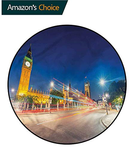 (RUGSMAT Urban Round Rug,Big Ben Westminster UK Non-Slip No-Shedding Kitchen Soft Floor Mat)