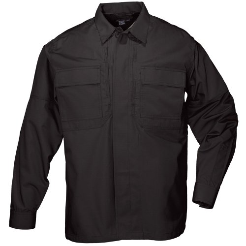 5.11 Tactical Taclite TDU Long-Sleeve Shirt, Black, (5.11 Tactical Cotton Uniform)