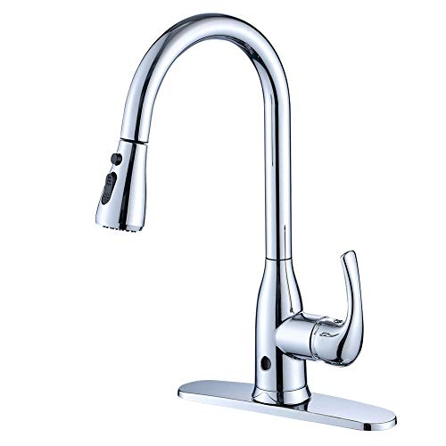 Touchless kitchen faucets with pull down sprayer brushed - Touchless bathroom faucet brushed nickel ...