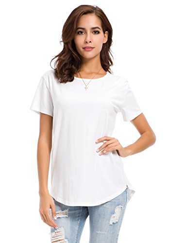 MSHING Women s Summer Simple Casual Plain Loose T-Shirt Tops White - Tee White Maternity