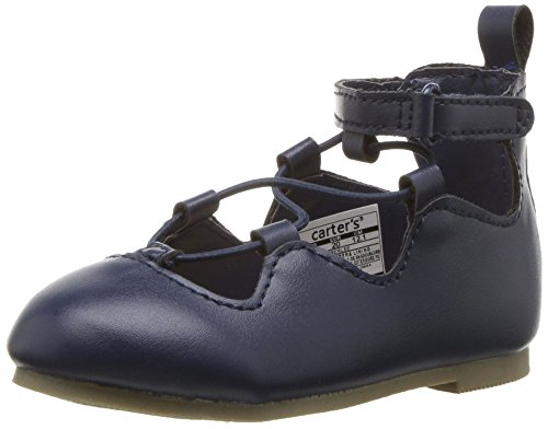 Carter's Amberlee Girl's Lace-Up Ballet Flat, Navy, 6 M US Toddler]()