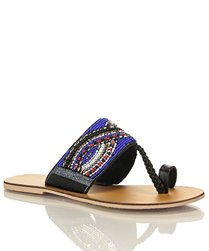 Qupid Kenmore-01 Toe Sandals Ring Slip On Slides Beaded Sandals Toe B01IC6MKV0 Parent 75a158
