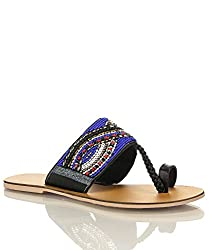 Qupid Kenmore-01 Toe Ring Slip On Slides Beaded Sandals BLACK (5.5)