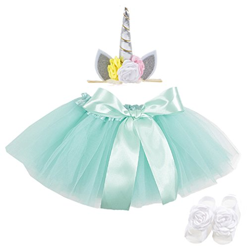 Lujuny Litter Girl Tutu Dress Unicorn Headband Flower Foot Shoes Barefoot Sandal Set (Green Silver)
