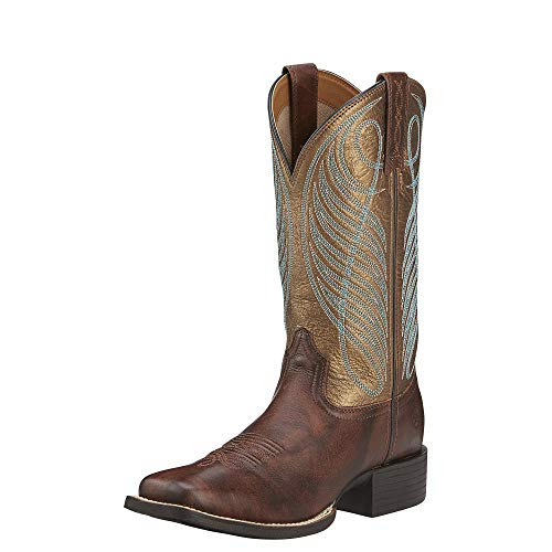Ariat Women's Round Up Wide Square Toe Western Cowboy Boot, Yukon Brown/Bronze, 9 M US (Justin Boots Womens)