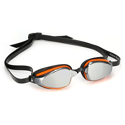 MP Michael Phelps K180+ Goggles, Mirrored Lens/Orange/Black Frame Competition Swim Goggles, Made In Italy