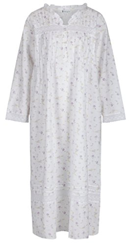 Vintage Granny - The 1 for U 100% Cotton Nightgown Vintage Design - Annabelle (Small, Lilac)