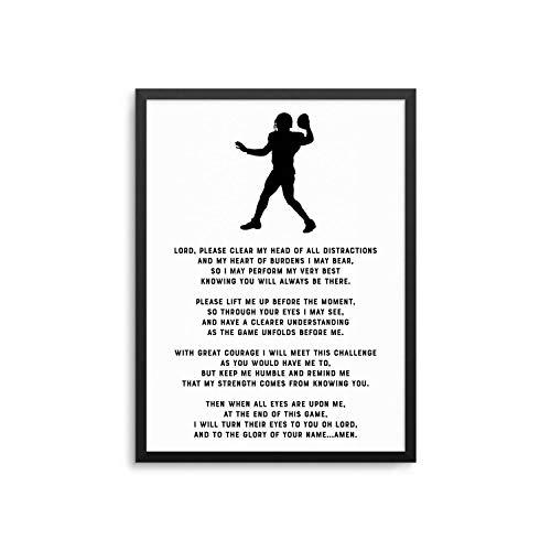 Les Connie Football Prayer Poster Framed Christian Athlete Prayer Art Print -