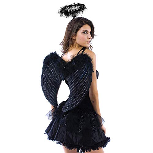 Halloween Fallen Angel Wings (Angel Wings and Halo Headband for Kids Costumes Feather Dress up Fancy Cosplay Party for Girls Women (Black-Small 17.7