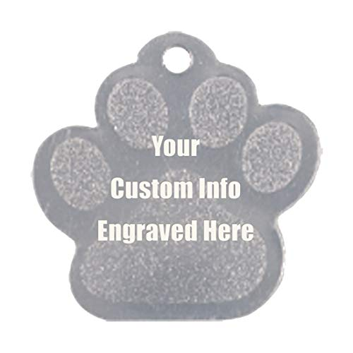 Hat Shark Custom Personalized 3D Laser Engraved Paw Shaped Pet ID Tag (Paw Silver)
