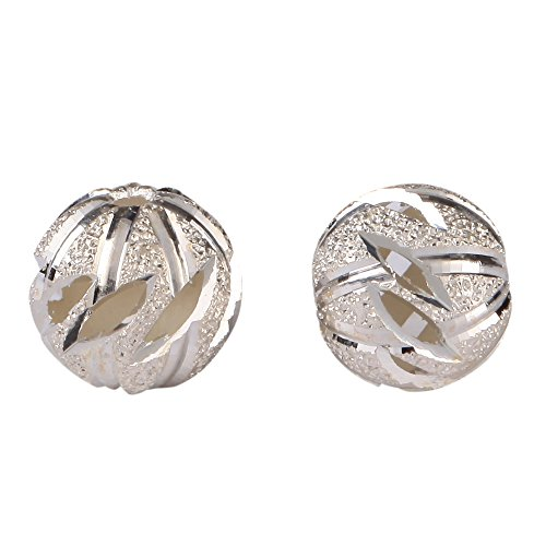Silver 8mm Filigree Flower Pattern Round Spacer Beads #ss69 ()
