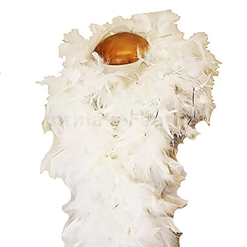 Cynthia's Feathers 80g Chandelle Feather Boa (White/Silver Tinsels)