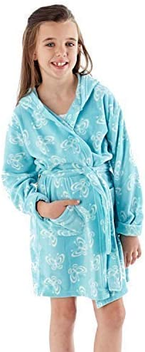 Girls Unicorn Dressing Gown Bath Robe Soft Cozy Green Fleece Ages 1-14 Years