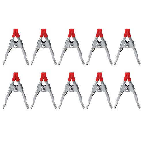 Cikonielf Spring Clip Clamp PVC Coated Metal Spring Clamps 4'' Mini Small Woodworking Clip A-Shaped Grip Jaw Clamp(10 PCS)